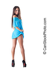 beleza, mulher jovem, posar, em, capa azul