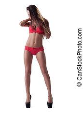 beleza, mulher jovem, posar, em, excitado, vermelho, langerie