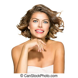 beleza, mulher jovem, retrato, sobre, white., shortinho, cabelo ondulado