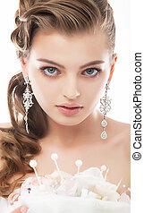 beleza, na moda, -, cima, rosto, noiva, fim, retrato