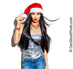 beleza, natal, modelo moda, menina, com, longo, direito, cabelo voador, em, vermelho, chapéu santa