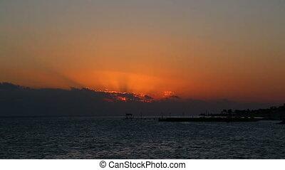 beleza, paisagem, com, amanhecer, sobre, mar, -, timelapse
