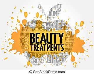 beleza, palavra, tratamentos, nuvem, maçã