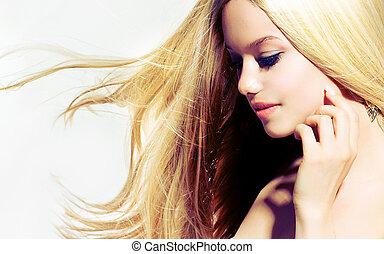 beleza, portrait., bonito, mulher jovem, tocar, dela, rosto