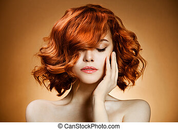 beleza, portrait., cabelo ondulado