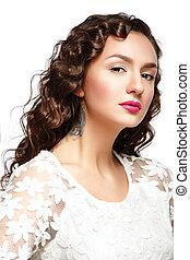 beleza, portrait., moda, makeup., hairstyle.