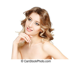 beleza, portrait., mulher bonita, tocar, dela, face., perfeitos, fresco, skin., isolado, branco, experiência., puro, beleza, model., juventude, e, cuidado pele, conceito