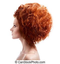 beleza, portrait., updo, penteado, branco, fundo