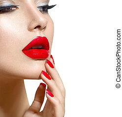 beleza, pregos, maquilagem, lábios, manicure, excitado, modelo, menina, vermelho, closeup.