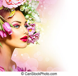 beleza, primavera, menina, com, flores, estilo cabelo
