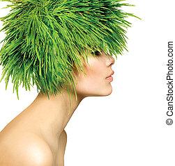 beleza, primavera, mulher, com, fresco, grama verde, cabelo