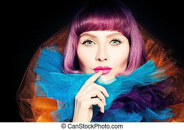 beleza, retrato, de, moda, mulher, com, coloração, cabelo