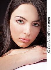 beleza, retrato, de, mulher, com, sensual, rosto, e, olhos