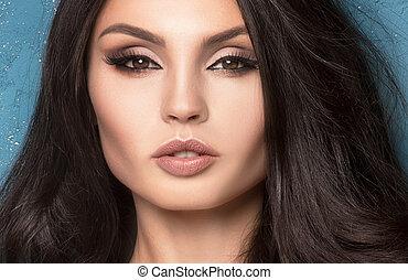beleza, retrato, de, sensual, woman.