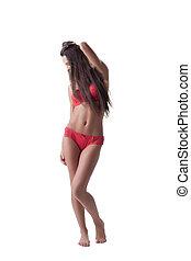 beleza, retrato mulher, em, vermelho, lingerie sexy