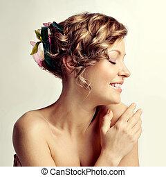 beleza, retrato mulher, penteado, com, flores