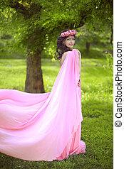beleza, romanticos, menina, outdoors., bonito, adolescente, modelo, menina, vestido, em, soprando, vestido cor-de-rosa, ligado, a, campo, em, parque verde