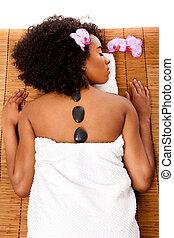 beleza, saúde, spa dia, -, quentes, terapia lastone