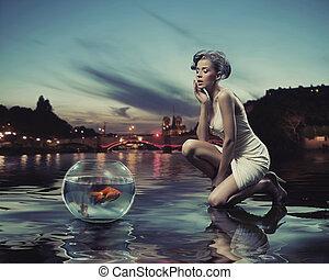 beleza, senhora, com, peixe ouro