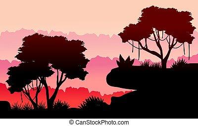 beleza, silueta, selva, paisagem