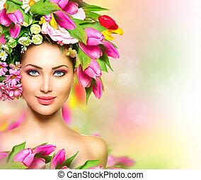 beleza, verão, modelo, menina, com, flores coloridas, penteado