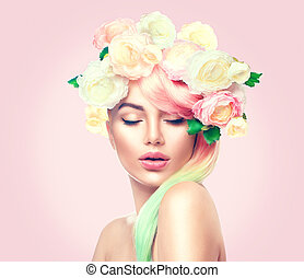 beleza, verão, modelo, menina, com, flores coloridas, wreath., flores, estilo cabelo