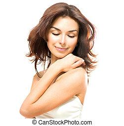 beleza, woman., bonito, jovem, femininas, tocar, dela, pele