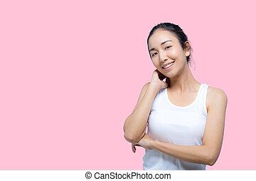 beleza, woman., bonito, jovem, femininas, tocar, dela, skin., retrato, cuidados de saúde, perfeitos, skin.