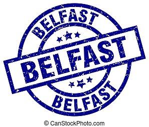 Belfast blue round grunge stamp