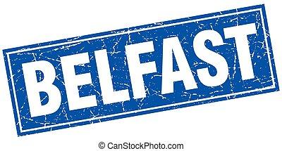 Belfast blue square grunge vintage isolated stamp