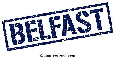 Belfast blue square stamp