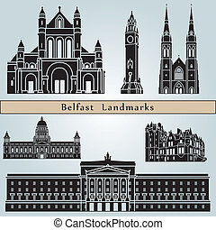 Belfast Landmarks - Belfast landmarks and monuments isolated...