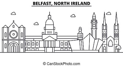 Belfast, North Ireland architecture line skyline illustration. Linear vector cityscape with famous landmarks, city sights, design icons. Landscape wtih editable strokes