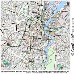 Belfast Northern Ireland city map aerial view