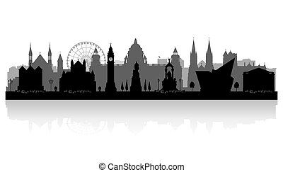 Belfast Northern Ireland city skyline vector silhouette illustration