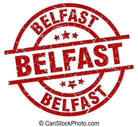 Belfast red round grunge stamp