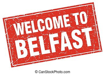 Belfast red square grunge welcome to stamp