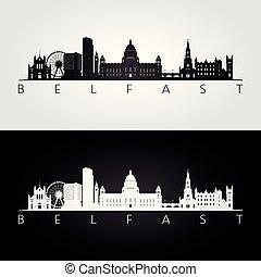Belfast skyline and landmarks silhouette, black and white...