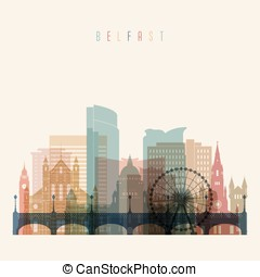 Belfast skyline detailed silhouette. Transparent style....