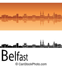 Belfast skyline in orange background