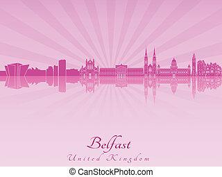 Belfast skyline in purple radiant orchid in editable vector...