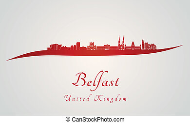 Belfast skyline in red and gray background in editable...