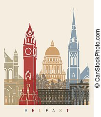 Belfast skyline poster in editable vector file