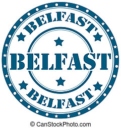 Belfast-stamp - Rubber stamp with text Belfast,vector...