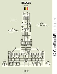 Belfry in Brugge, Belgium. Landmark icon in linear style