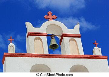 Belfry of a typical greek church, Oia, Santorini, Greece