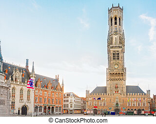 Belfry of Bruges and Grote Markt square, Belgium