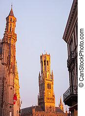 Belfry of Bruges at evening. Bruges Belgium