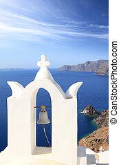 Belfry of classical church of Santorini island in Greece