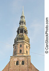 Belfry of the St. Peter's Church in Riga.